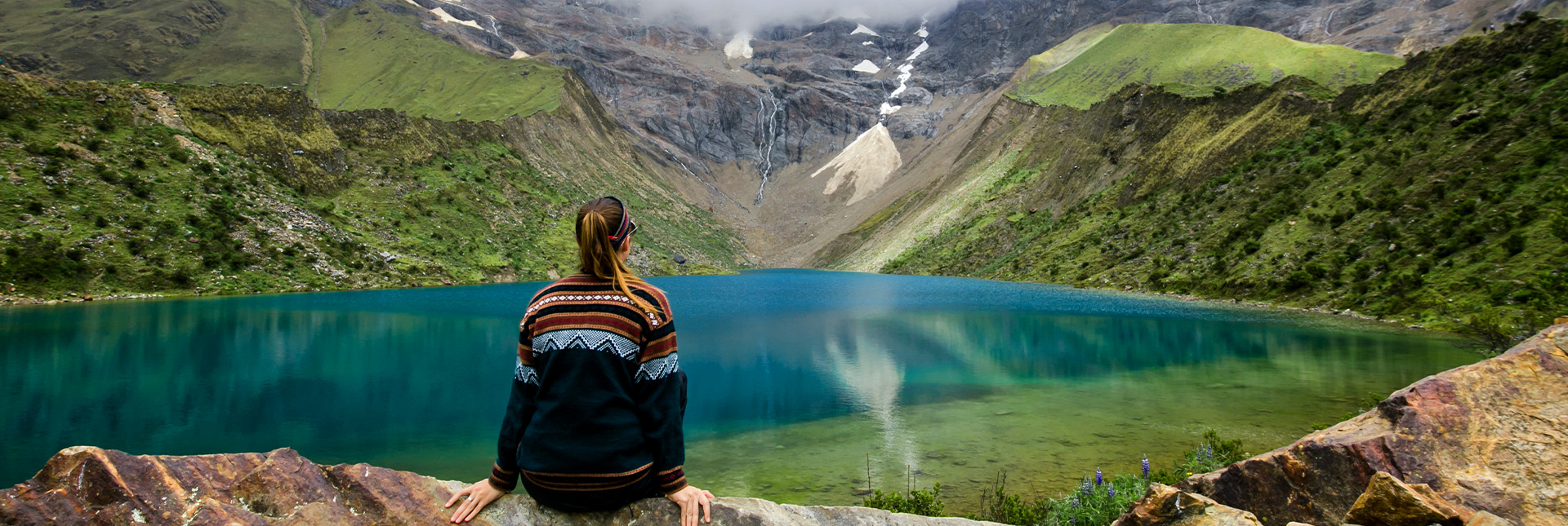 View of beautiful lakes on the trek