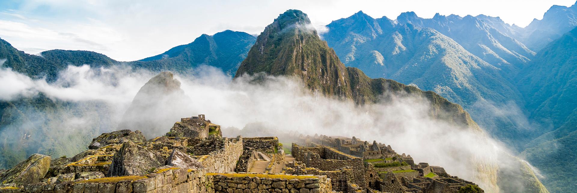 Machu Picchu behind clouds